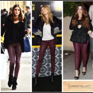 NWT Current/ Elliot burgundy leather skinny pants